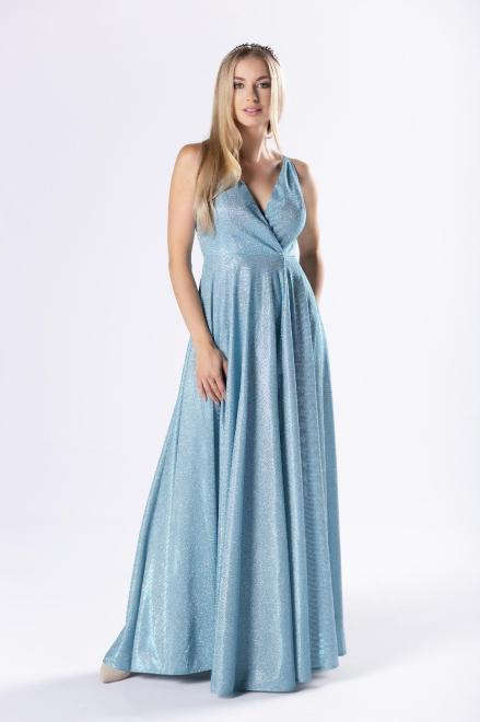 Pretty Women  brokatowa sukienka maxi z kopertowym dekoltem i rozporkiem z przodu M80685 Платье Голубой оптом
