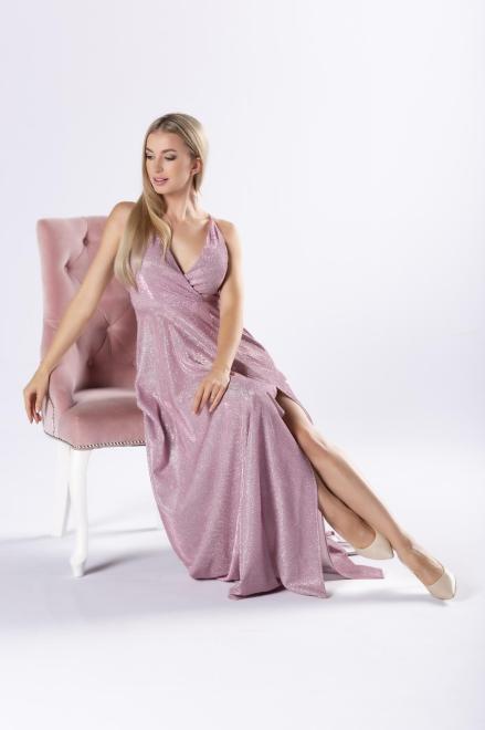 Pretty Women  brokatowa sukienka maxi z kopertowym dekoltem i rozporkiem z przodu M80685 Платье Розовый оптом