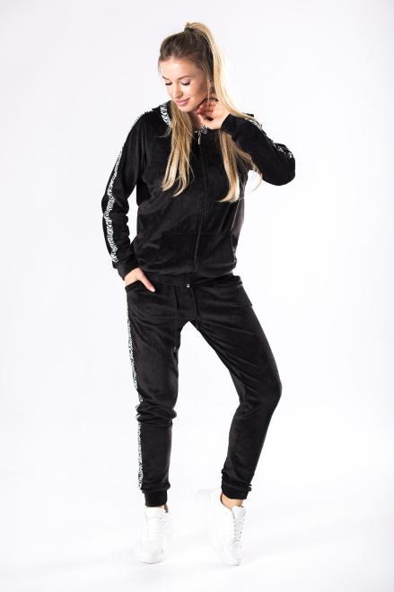 OLA FASHION  welurowy komplet dresowy M81152 Трикотажные брюки Черный оптом