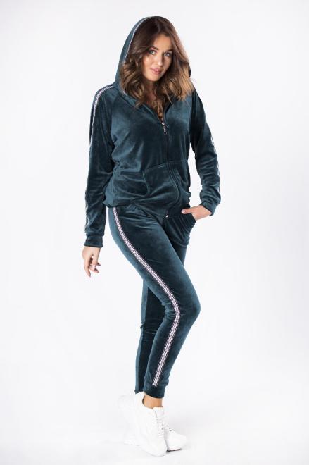 OLA FASHION  welurowy komplet dresowy M81152 Трикотажные брюки Зеленый оптом