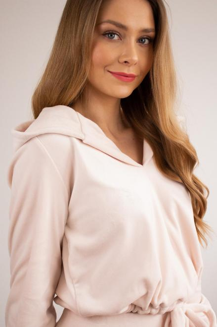 LA PERLA  welurowy dres z wiązaniem przy mankietach M81351 Трикотажные брюки Розовый оптом