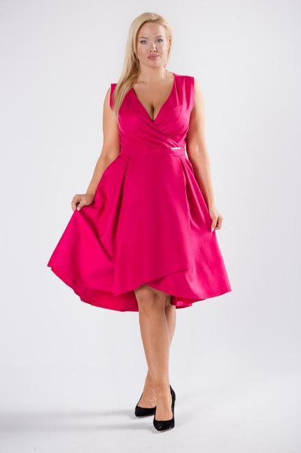QUARELLE  rozkloszowana sukienka koktajlowa z kopertowym dekoltem M81229 Платье Розовый оптом
