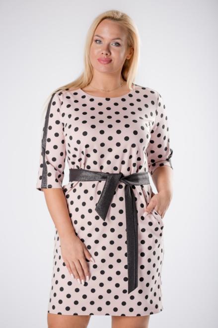 QUARELLE  dopasowana sukienka w grochy z brokatowymi lampasami na rękawach oraz wiązaniem w pasie M81278 Платье Розовый оптом