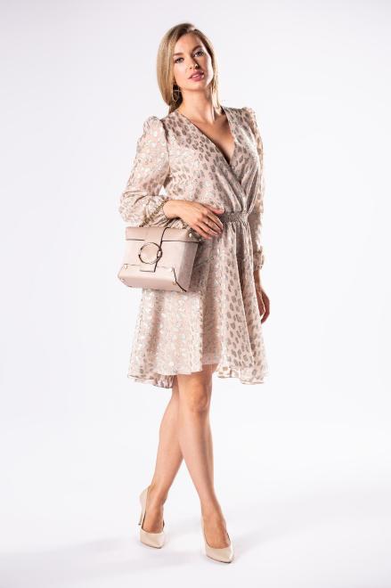 BICOTONE  połyskująca sukienka koktajlowa z bufkami na ramionach i szeroką gumką w pasie M81182 Платье Бежевый оптом