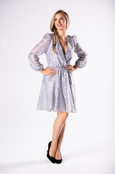 BICOTONE  połyskująca sukienka koktajlowa z bufkami na ramionach i szeroką gumką w pasie M81182 Платье Серый оптом