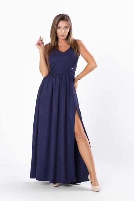 QUARELLE  połyskująca sukienka maxi z głębokim rozporkiem i rozcięciem na plecach M81244 Платье Темносиний оптом
