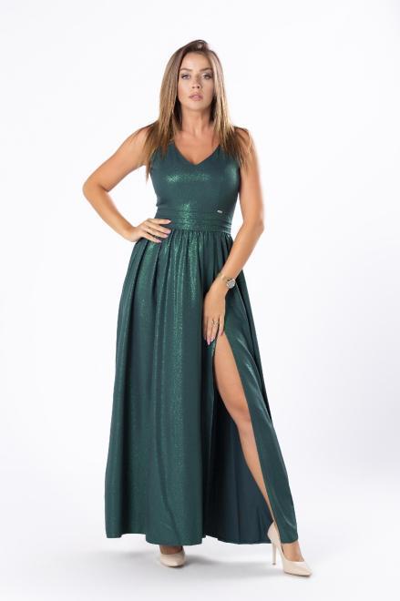 QUARELLE  połyskująca sukienka maxi z głębokim rozporkiem i rozcięciem na plecach M81244 Платье Зеленый оптом