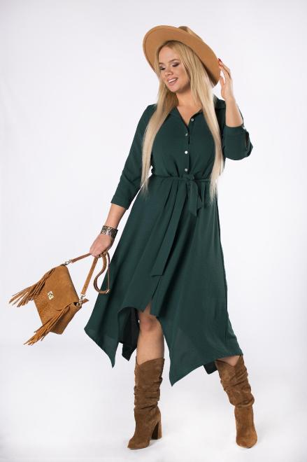BODOO  sukienka szmizjerka z wiązaniem w pasie i wydłużonymi bokami M81169 Платье Зеленый оптом