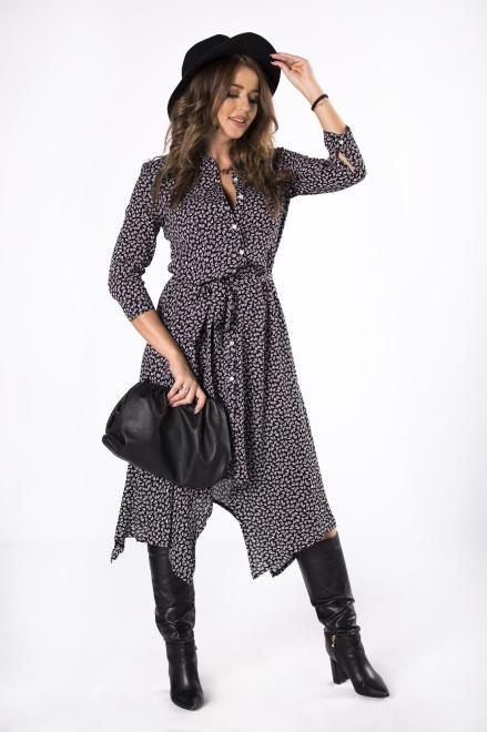 BODOO  wzorzysta sukienka szmizjerka z wiązaniem w pasie i wydłużonymi bokami M81168 Платье Черный оптом