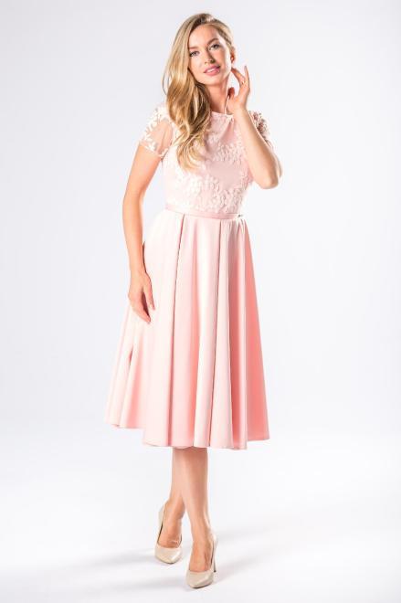 ARIANA  rozkloszowana sukienka midi z haftowaną górą M81078 Платье Розовый оптом