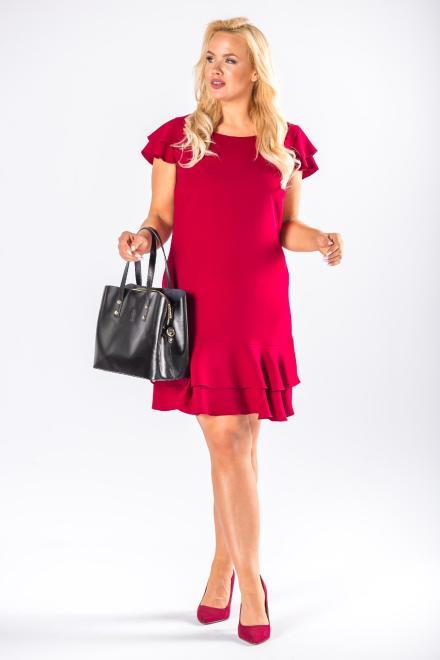 DARTEX  trapezowa sukienka z falbanami na ramionach M78094 Платье Бордовый оптом