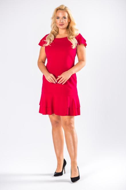 DARTEX  trapezowa sukienka z falbanami na ramionach M78094 Платье Красный оптом