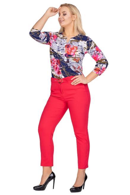 OLA FASHION  eleganckie spodnie z nogawkami w kant oraz paskiem M77813 Брюки Красный оптом