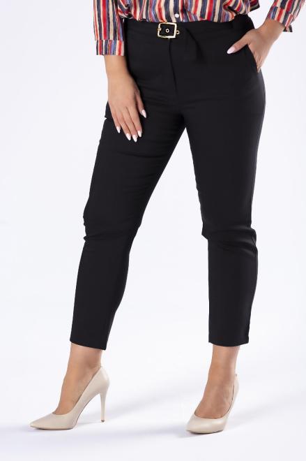 OLA FASHION  eleganckie spodnie z nogawkami w kant oraz paskiem M77813 Брюки Черный оптом