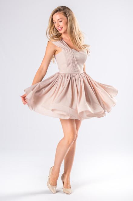 ARIANA  koktajlowa sukienka na jedno ramię z kontrafałdami M81077 Платье Бежевый оптом