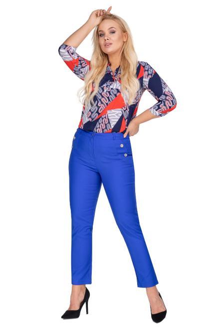 OLA FASHION  eleganckie spodnie z nogawkami w kant oraz ozdobnymi guzikami przy kieszeniach M77810 Брюки Голубой оптом