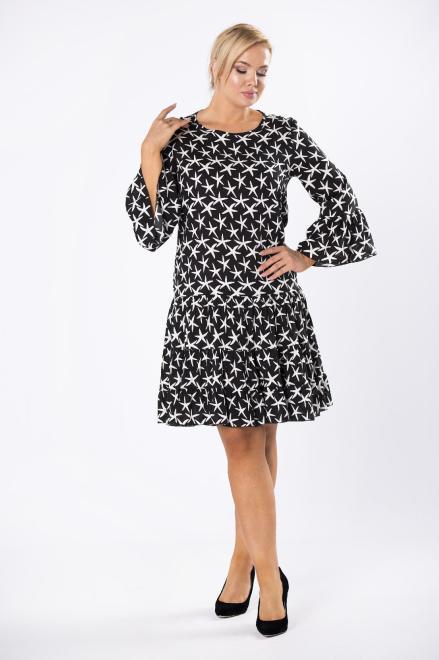 BRENDA  wzorzysta sukienka o trapezowym kroju z falbankami na rękawach M81031 Платье Черный оптом