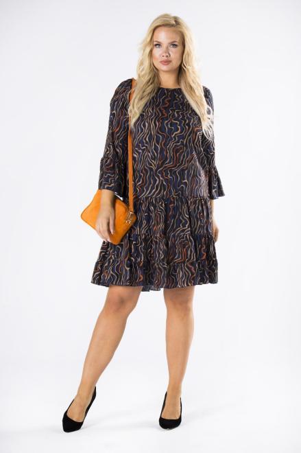 BRENDA  wzorzysta sukienka o trapezowym kroju z falbankami na rękawach M81031 Платье Multikolor оптом