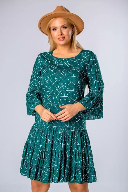 BRENDA  wzorzysta sukienka o trapezowym kroju z falbankami na rękawach M81031 Платье Зеленый оптом