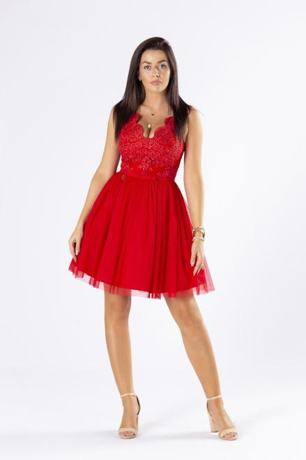 BICOTONE  koktajlowa sukienka z gipiurową górą i tiulowym dołem M75829 Платье Красный оптом