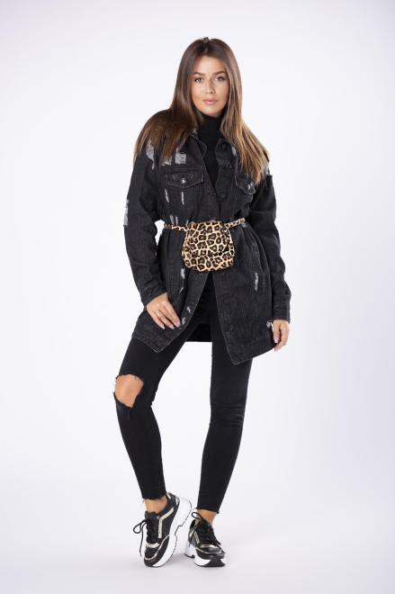 JUST-MAR  dłuższa jeansowa kurtka z przetarciami M80887 Регулар Черный оптом