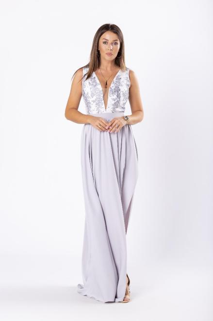 ARIANA  elegancka sukienka maxi z gipiurową górą z cekinami i rozkloszowanym dołem M81073 Платье Серый оптом
