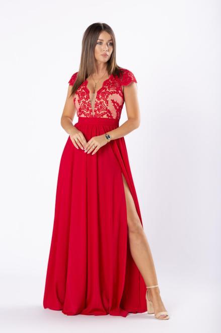 ARIANA  elegancka sukienka maxi z gipiurową górą i rozkloszowanym dołem M81075 Платье Красный оптом