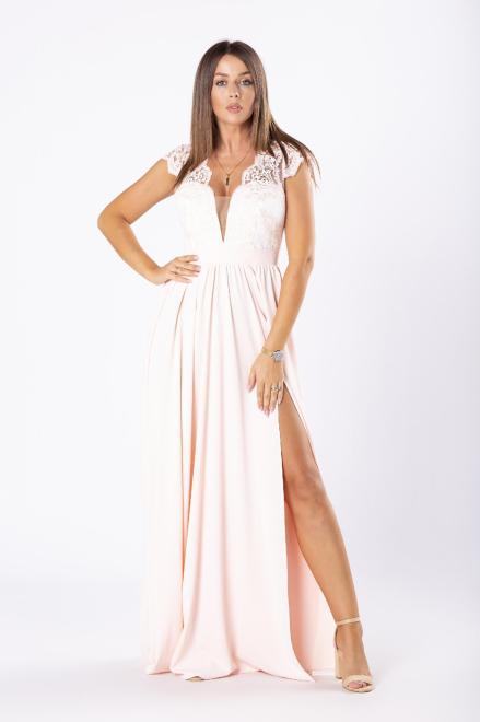 ARIANA  elegancka sukienka maxi z gipiurową górą i rozkloszowanym dołem M81075 Платье Оранжевый оптом