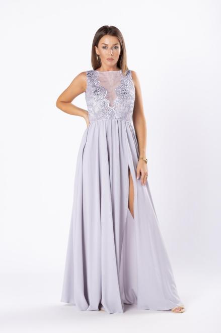 ARIANA  elegancka sukienka maxi z tiulową wstawką na dekolcie M81074 Платье Серый оптом