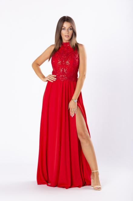 ARIANA  elegancka sukienka maxi z dekoltem typu halter i rozkloszowanym dołem M81076 Платье Красный оптом