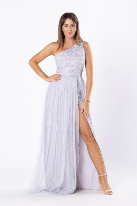 ARIANA  sukienka maxi na jedno ramię z gipiurową wykończeniem z cekinami M81072 Платье Серебрянный оптом