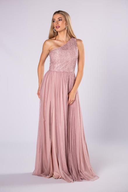 ARIANA  sukienka maxi na jedno ramię z gipiurową wykończeniem z cekinami M81072 Платье Розовый оптом