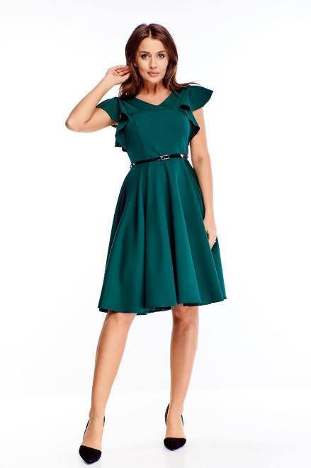 DARTEX  koktajlowa sukienka z paskiem i falbankami na rękawach M73258 Платье Зеленый оптом