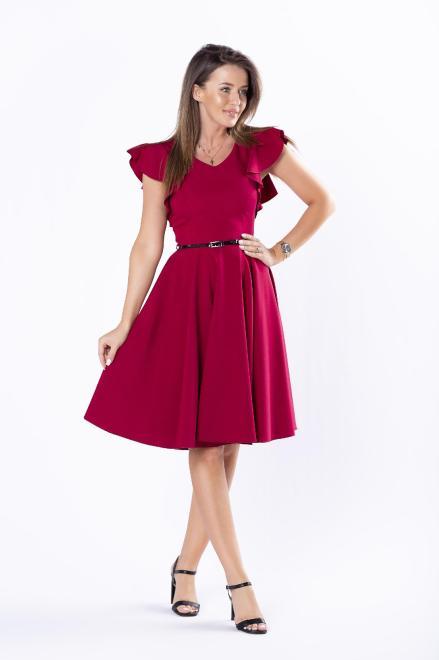 DARTEX  koktajlowa sukienka z paskiem i falbankami na rękawach M73258 Платье Бордовый оптом