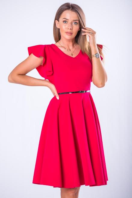 DARTEX  koktajlowa sukienka z paskiem i falbankami na rękawach M73258 Платье Красный оптом