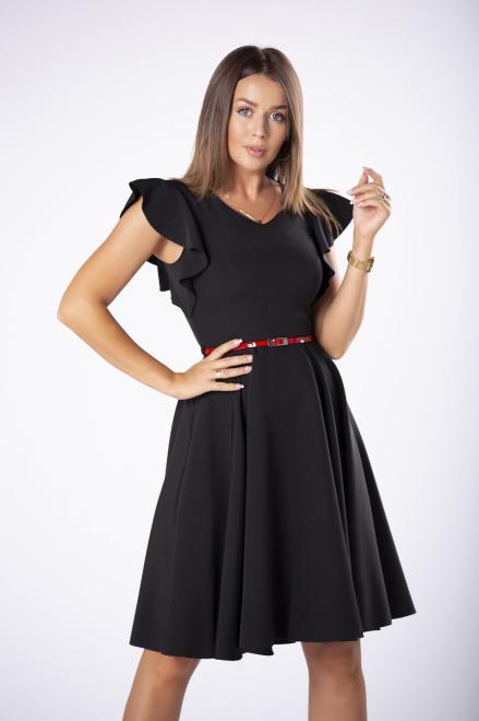 DARTEX  koktajlowa sukienka z paskiem i falbankami na rękawach M73258 Платье Черный оптом