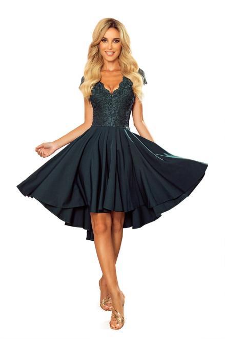 Numoco  rozkloszowana sukienka z koronkową górą i wydłużonym tyłem M80788 Платье Зеленый оптом