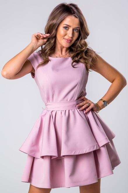 STELLA VERA  koktajlowa sukienka z kontrafałdami i wiązaniem w pasie M80647 Платье Розовый оптом