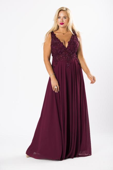 AMADEO  wieczorowa sukienka maxi z błyszczącymi kryształkami i odkrytymi plecami M80505 Платье Фиолетовый оптом