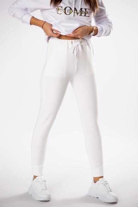WOX  dresowe spodnie ze ściągaczem w pasie M80419 Брюки Кремовый оптом