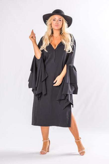Rivabella  sukienka z długimi rękawami z falbanami i rozcięciem M80409 Платье Черный оптом