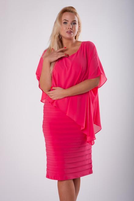 JOTES  dopasowana sukienka z tiulową narzutką M73127 Платье Красный оптом