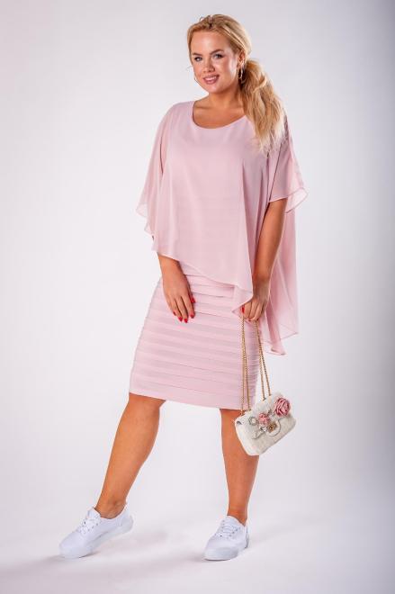JOTES  dopasowana sukienka z tiulową narzutką M73127 Платье Розовый оптом
