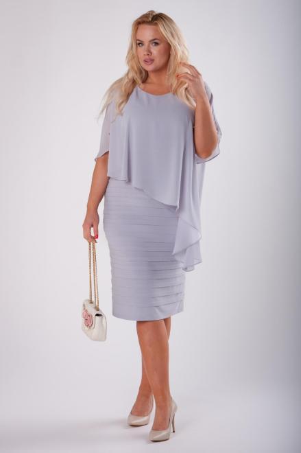 JOTES  dopasowana sukienka z tiulową narzutką M73127 Платье Серый оптом