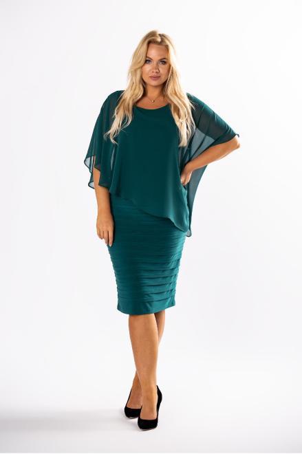 JOTES  dopasowana sukienka z tiulową narzutką M73127 Платье Зеленый оптом