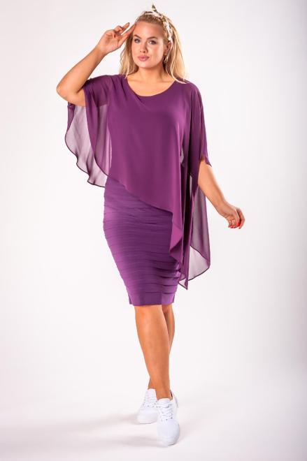 JOTES  dopasowana sukienka z tiulową narzutką M73127 Платье Фиолетовый оптом