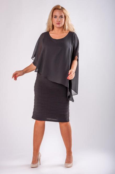 JOTES  dopasowana sukienka z tiulową narzutką M73127 Платье Черный оптом