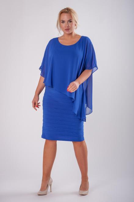 JOTES  dopasowana sukienka z tiulową narzutką M73127 Платье Голубой оптом