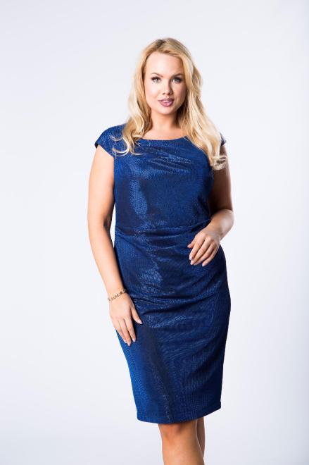 JOTES  błyszcząca sukienka z krótkim rękawem  M75699 Платье Голубой оптом