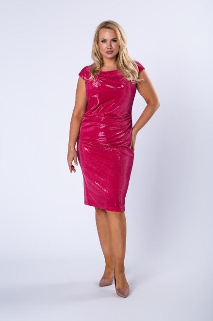 JOTES  błyszcząca sukienka z krótkim rękawem  M75699 Платье Розовый оптом
